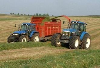 Northumberlandfarmhouse silage picked up in the fields